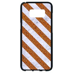 Stripes3 White Marble & Rusted Metal Samsung Galaxy S8 Black Seamless Case by trendistuff