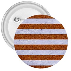 Stripes2white Marble & Rusted Metal 3  Buttons by trendistuff