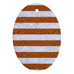 Stripes2white Marble & Rusted Metal Ornament (oval) by trendistuff