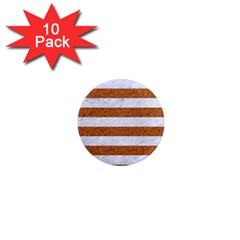 Stripes2white Marble & Rusted Metal 1  Mini Magnet (10 Pack)  by trendistuff