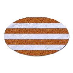 Stripes2white Marble & Rusted Metal Oval Magnet by trendistuff