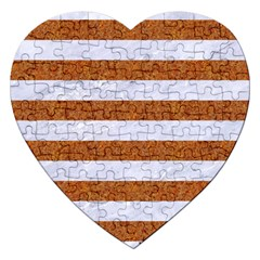 Stripes2white Marble & Rusted Metal Jigsaw Puzzle (heart) by trendistuff