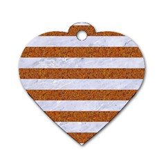 Stripes2white Marble & Rusted Metal Dog Tag Heart (two Sides) by trendistuff