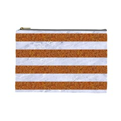 Stripes2white Marble & Rusted Metal Cosmetic Bag (large)  by trendistuff