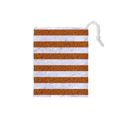 Stripes2white Marble & Rusted Metal Drawstring Pouches (small)  by trendistuff