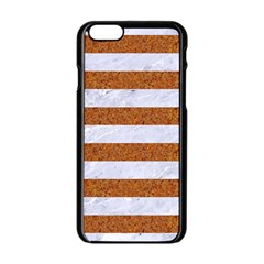Stripes2white Marble & Rusted Metal Apple Iphone 6/6s Black Enamel Case by trendistuff