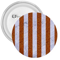 Stripes1 White Marble & Rusted Metal 3  Buttons by trendistuff