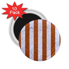 Stripes1 White Marble & Rusted Metal 2 25  Magnets (10 Pack)  by trendistuff