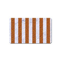 Stripes1 White Marble & Rusted Metal Magnet (name Card) by trendistuff