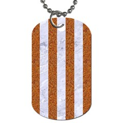 Stripes1 White Marble & Rusted Metal Dog Tag (two Sides) by trendistuff