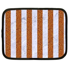 Stripes1 White Marble & Rusted Metal Netbook Case (large) by trendistuff