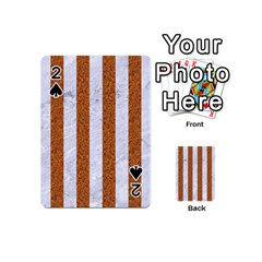 Stripes1 White Marble & Rusted Metal Playing Cards 54 (mini)  by trendistuff