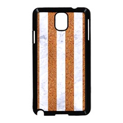 Stripes1 White Marble & Rusted Metal Samsung Galaxy Note 3 Neo Hardshell Case (black) by trendistuff