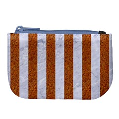 Stripes1 White Marble & Rusted Metal Large Coin Purse by trendistuff