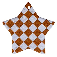 Square2 White Marble & Rusted Metal Ornament (star) by trendistuff