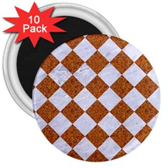 Square2 White Marble & Rusted Metal 3  Magnets (10 Pack)  by trendistuff