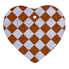 Square2 White Marble & Rusted Metal Heart Ornament (two Sides) by trendistuff