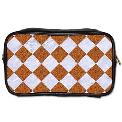 Square2 White Marble & Rusted Metal Toiletries Bags 2 Side by trendistuff