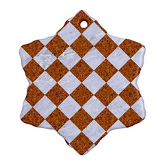 Square2 White Marble & Rusted Metal Snowflake Ornament (two Sides) by trendistuff