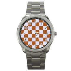 Square1 White Marble & Rusted Metal Sport Metal Watch by trendistuff