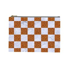 Square1 White Marble & Rusted Metal Cosmetic Bag (large)  by trendistuff