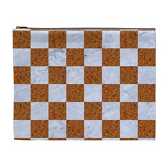 Square1 White Marble & Rusted Metal Cosmetic Bag (xl) by trendistuff