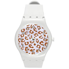 Skin5 White Marble & Rusted Metal Round Plastic Sport Watch (m) by trendistuff