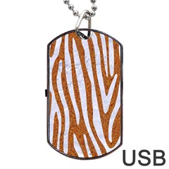 Skin4 White Marble & Rusted Metal (r) Dog Tag Usb Flash (one Side) by trendistuff