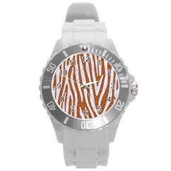 Skin4 White Marble & Rusted Metal (r) Round Plastic Sport Watch (l) by trendistuff