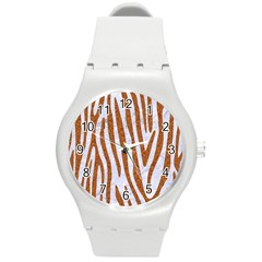 Skin4 White Marble & Rusted Metal Round Plastic Sport Watch (m) by trendistuff