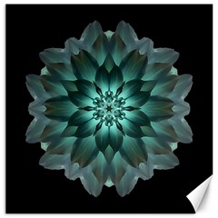 Blue Green Dahlia Flower Mandala Canvas 12  X 12
