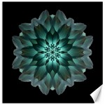 Blue-Green Dahlia Flower Mandala Canvas 12  x 12