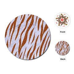 Skin3 White Marble & Rusted Metal (r) Playing Cards (round)  by trendistuff