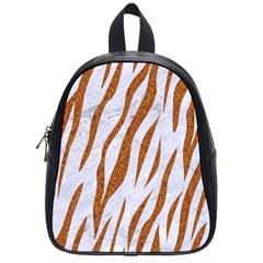 Skin3 White Marble & Rusted Metal (r) School Bag (small) by trendistuff
