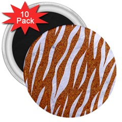 Skin3 White Marble & Rusted Metal 3  Magnets (10 Pack)  by trendistuff