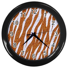 Skin3 White Marble & Rusted Metal Wall Clocks (black) by trendistuff