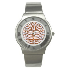 Skin2 White Marble & Rusted Metal (r) Stainless Steel Watch by trendistuff