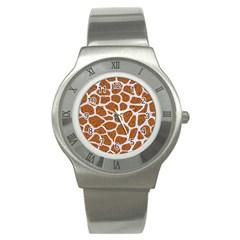 Skin1 White Marble & Rusted Metal (r) Stainless Steel Watch by trendistuff