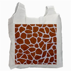 Skin1 White Marble & Rusted Metal (r) Recycle Bag (two Side)  by trendistuff