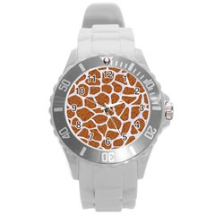 Skin1 White Marble & Rusted Metal (r) Round Plastic Sport Watch (l) by trendistuff