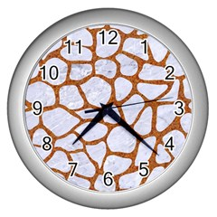 Skin1 White Marble & Rusted Metal Wall Clocks (silver)  by trendistuff