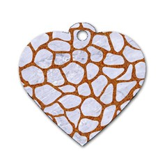 Skin1 White Marble & Rusted Metal Dog Tag Heart (two Sides) by trendistuff
