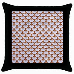 Scales3 White Marble & Rusted Metal (r) Throw Pillow Case (black) by trendistuff