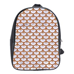 Scales3 White Marble & Rusted Metal (r) School Bag (large) by trendistuff