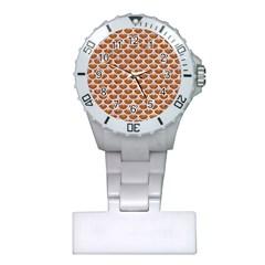 Scales3 White Marble & Rusted Metal Plastic Nurses Watch by trendistuff