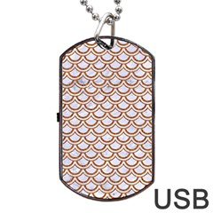 Scales2 White Marble & Rusted Metal (r) Dog Tag Usb Flash (two Sides) by trendistuff