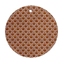 Scales2 White Marble & Rusted Metal Ornament (round) by trendistuff