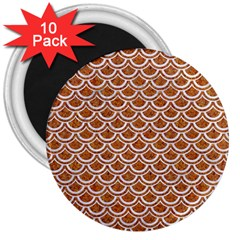 Scales2 White Marble & Rusted Metal 3  Magnets (10 Pack)  by trendistuff