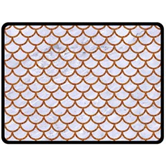Scales1 White Marble & Rusted Metal (r) Double Sided Fleece Blanket (large)  by trendistuff