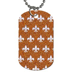 Royal1 White Marble & Rusted Metal (r) Dog Tag (two Sides) by trendistuff
